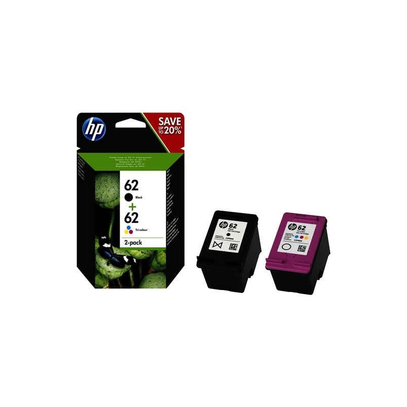 Pack de ahorro de 2 cartuchos de tinta original HP 62 negro/tricolor