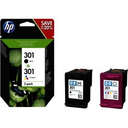 Pack de ahorro de 2 cartuchos de tinta original HP 301 negro/Tri-color