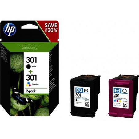 Pack de ahorro de 2 cartuchos de tinta original HP 301 negro/Tri-color