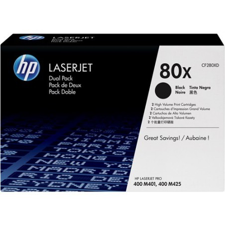 Cartucho original de tóner negro de alto rendimiento HP 80X LaserJet