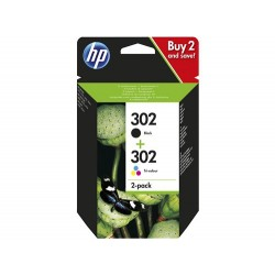 Paquete de ahorro de 2 cartuchos de tinta original HP 302 negro/tricolor