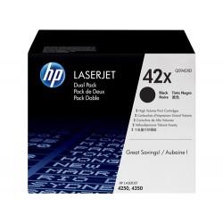 Pack de 2 cartuchos de tóner original LaserJet HP 42X de alta capacidad negro