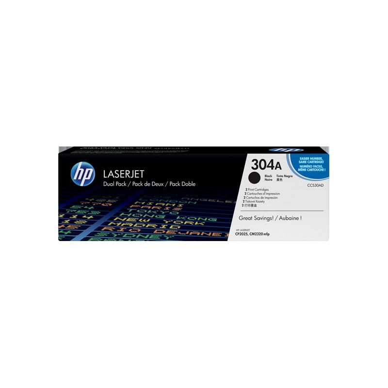 Pack de ahorro de 2 cartuchos de tóner original LaserJet HP 304A negro