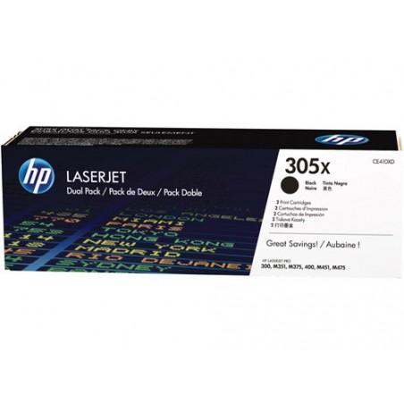 Pack de ahorro de 2 cartuchos de tóner original LaserJet HP 305X de alta capacidad negro