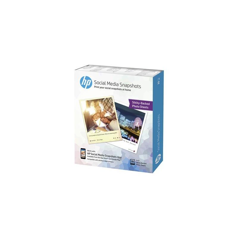 25 hojas de 10 x 13 cm de papel fotográfico adhesivo extraíble para HP Social Media Snapshots