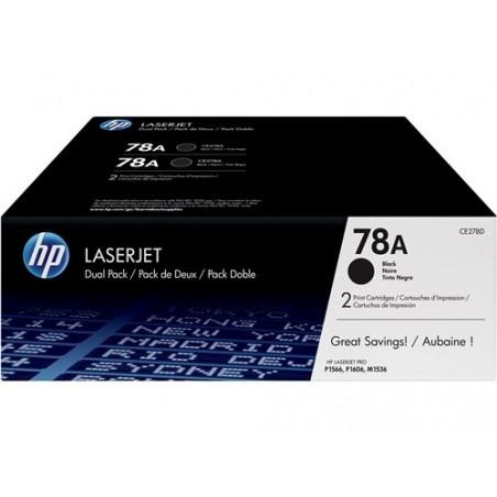 Paquete doble de tóner negro HP 78A LaserJet