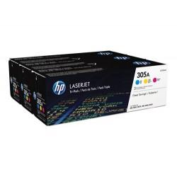 Paquete de tres cartuchos de tóner HP 305A LaserJet