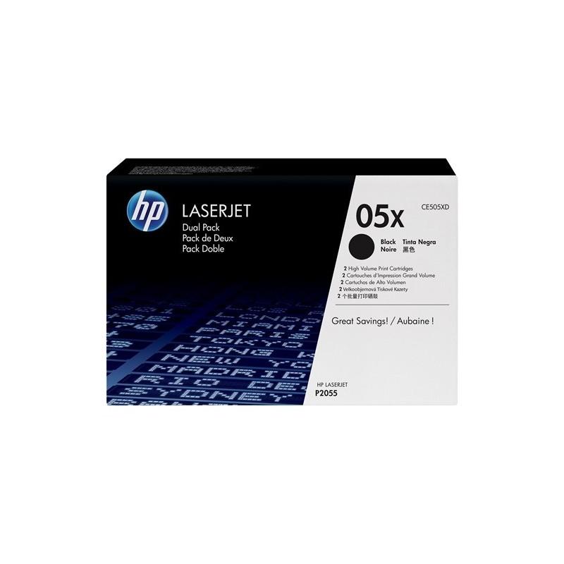 Pack de ahorro de 2 cartuchos de tóner HP 05X de alta capacidad negro
