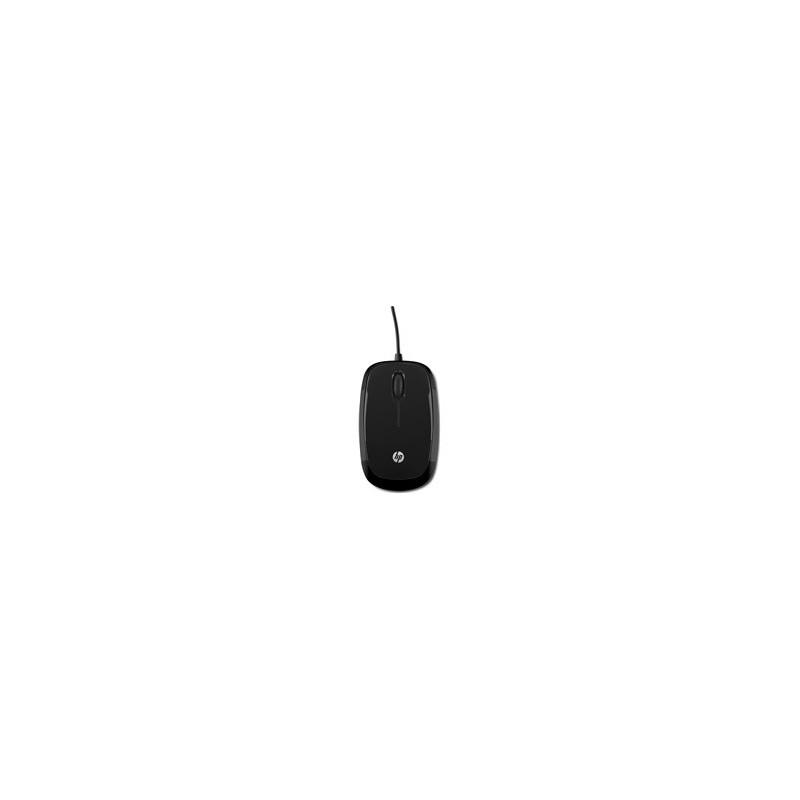 Ratón con cable negro brillante HP X1200
